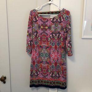 Cutout-Back Shift Dress, Calypso Coral/Multi